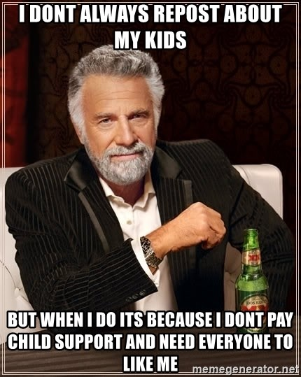 The Most Interesting Man In The World - I Dont always repost about my kids But when I do its because I dont pay child support and need everyone to like me