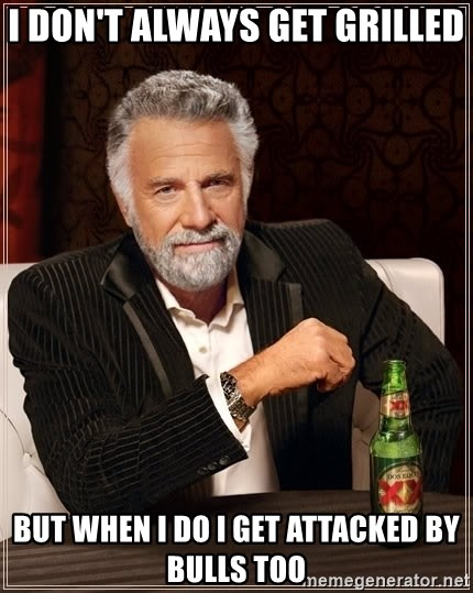 The Most Interesting Man In The World - I don't always get grilled But when i do i get attacked by bulls too