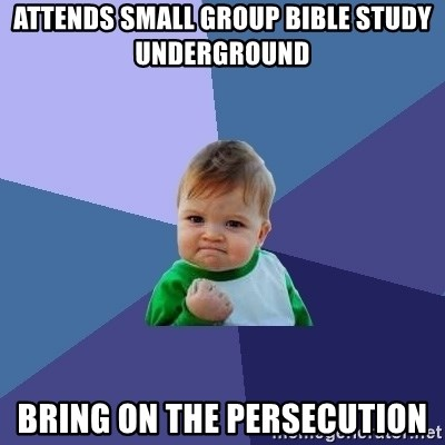 Success Kid - attends small group bible study underground bring on the persecution