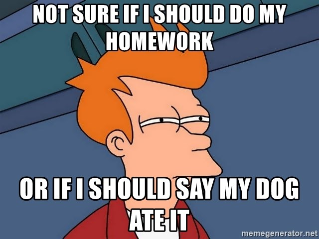 Futurama Fry - Not Sure if i should do my homework or if i should say my dog ate it