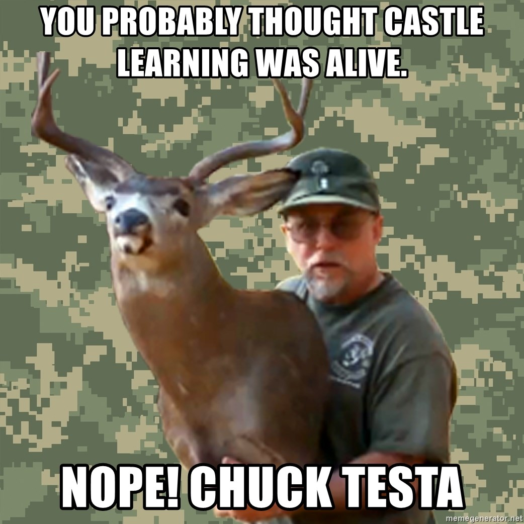 Chuck Testa Nope - you probably thought castle learning was alive. Nope! chuck testa