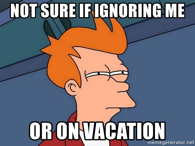 Futurama Fry - Not sure if ignoring me or on vacation