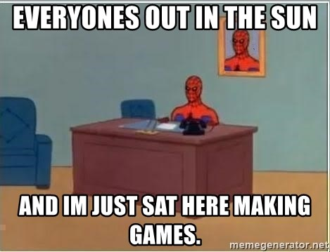 Spiderman Desk - Everyones out in the sun and im just sat here making games.
