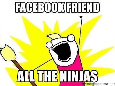 X ALL THE THINGS - facebook friend all the ninjas
