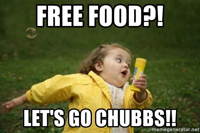 Little girl running away - Free Food?! Let's go Chubbs!!
