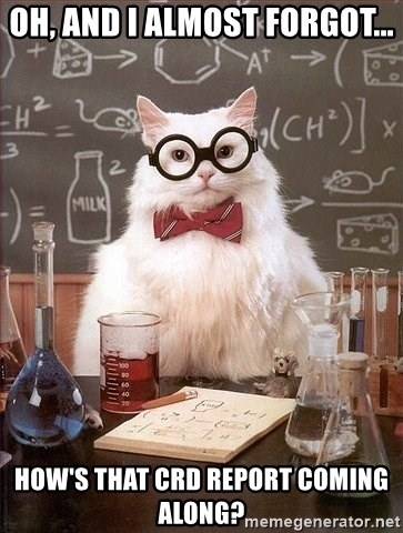 Chemistry Cat - Oh, and I almost forgot... How's that CRD Report coming along?