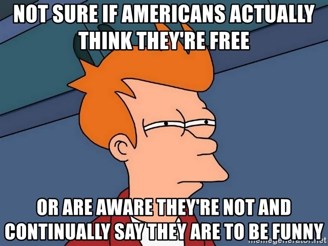 Futurama Fry - Not sure if americans actually think they're free or are aware they're not and continually say they are to be funny