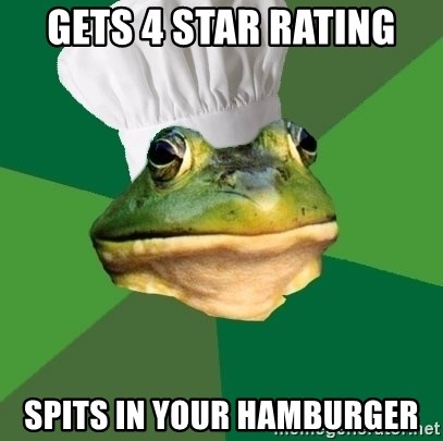 Foul Bachelor Frog - Gets 4 star rating spits in your hamburger
