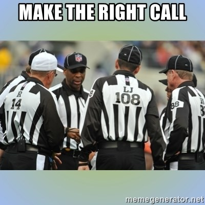 NFL Ref Meeting - MAKE THE RIGHT CALL