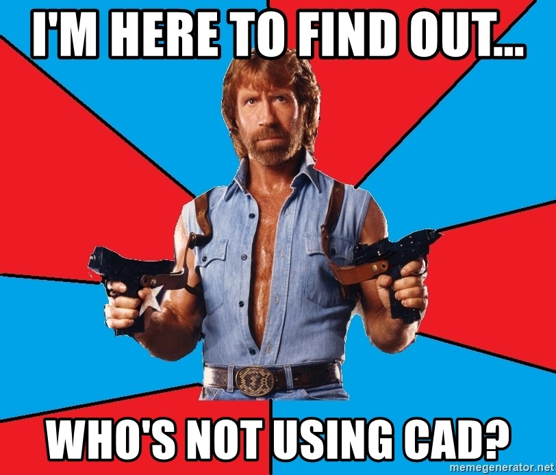 Chuck Norris  - i'm here to find out... who's not using cad?
