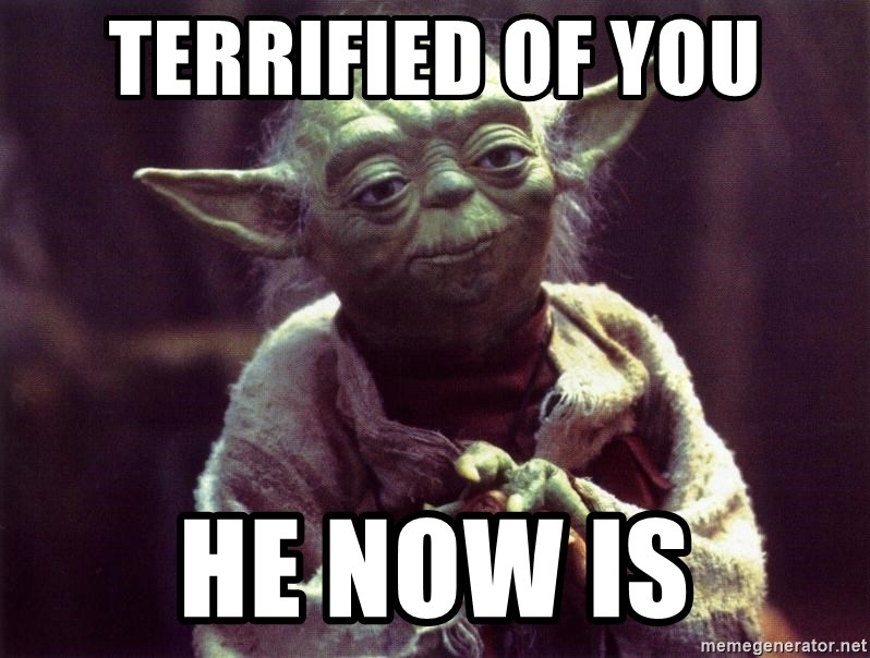 Yoda - terrified of you he now is