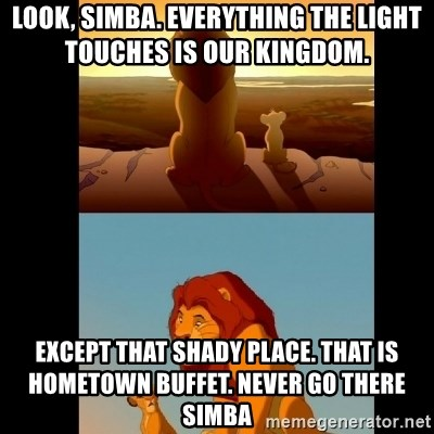 Lion King Shadowy Place - LoOk, Simba. EveRythiNg the light touches is our kingdom.  Except that shady plAce. That is Hometown buffet. Never go there SimbA