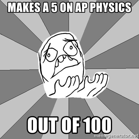 Whyyy??? - makes a 5 on ap physics out of 100