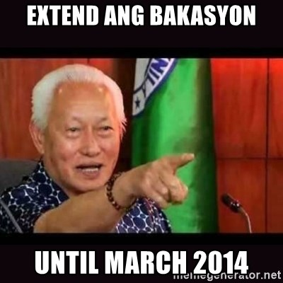 ALFREDO LIM MEME - extend ang bakasyon until march 2014