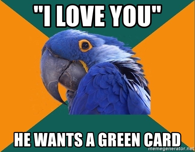 "Paranoid Parrot - ""i LOVE YOU"" hE WANTS A GREEN CARD"