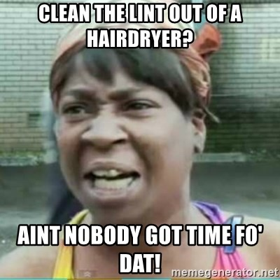 Sweet Brown Meme - Clean the lint out of a hairdryer? aint nobody got time fo' dat!