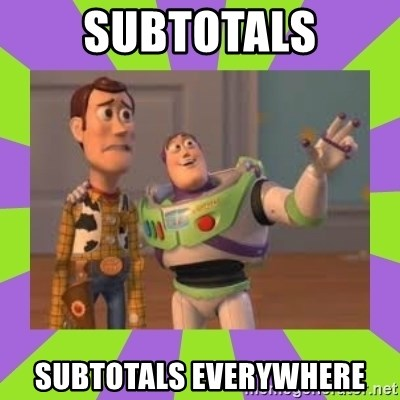 X, X Everywhere  - Subtotals subtotals everywhere