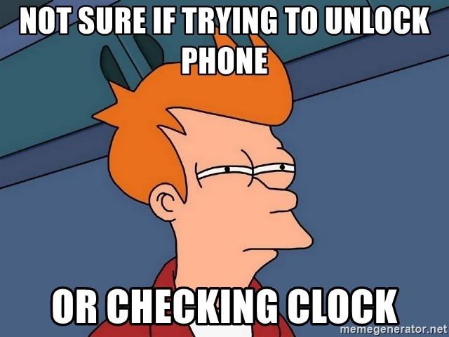Futurama Fry - Not Sure If Trying To Unlock phone Or checking clock