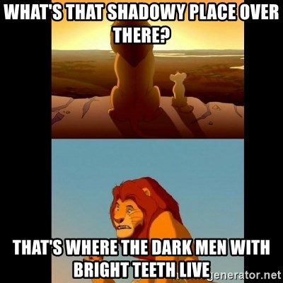 Lion King Shadowy Place - What's that shadowy place over there? That's where the dark men with bright teeth Live