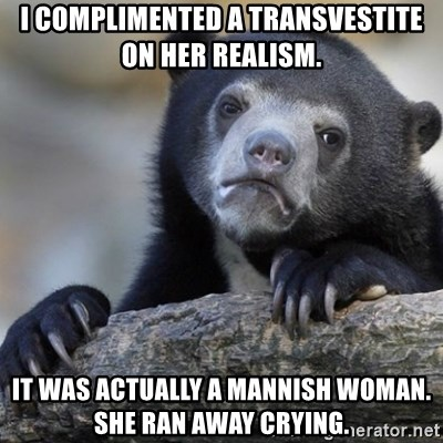 Confession Bear - I complimented a transvestite  on her realism. It was actually a mannish woman. she ran away crying.