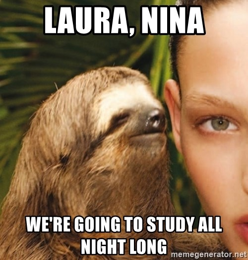 The Rape Sloth - Laura, Nina We're going to study all night long