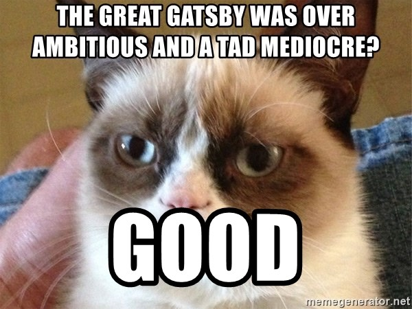 Angry Cat Meme - the great gatsby was over ambitious and a tad MEDIOCRE? GOOD