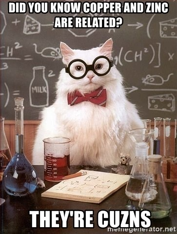 Chemistry Cat - Did you know copper and zinc are related?  tHEY'RE cuznS