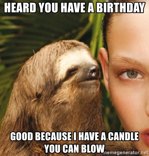The Rape Sloth - HEARD YOU HAVE A BIRTHDAY GOOD BECAUSE I HAVE A CANDLE YOU CAN BLOW