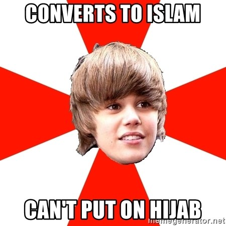 Justin Bieber - converts to islam can't put on hijab