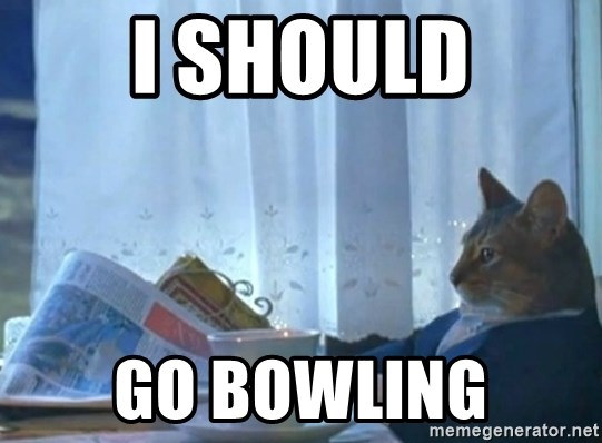 newspaper cat realization - i should go bowling