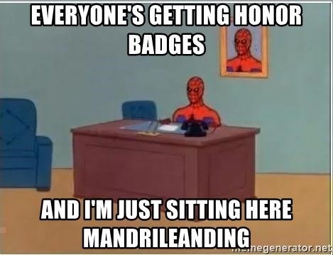 Spiderman Desk - everyone's getting honor badges and i'm just sitting here mandrileanding