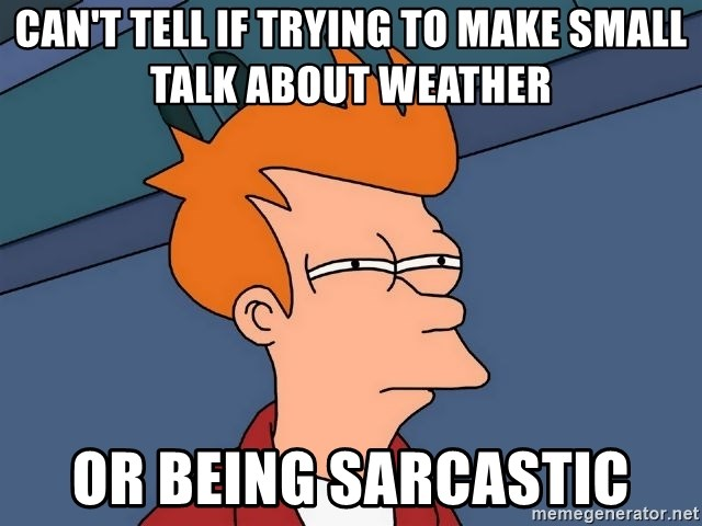 Futurama Fry - Can't tell if trying to make small talk about weather Or being sarcastic