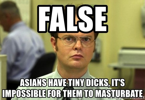 Dwight Meme - False Asians have tIny dicks, it's impossible for them to masturbate