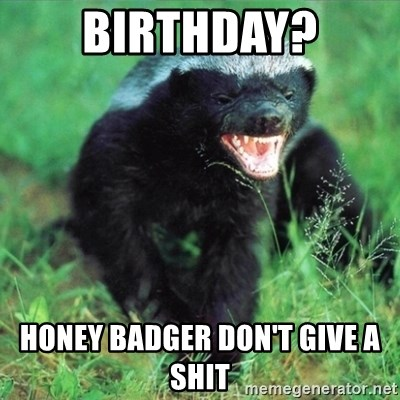 Honey Badger Actual - BIRTHDAY? HONEY BADGER DON'T GIVE A SHIT