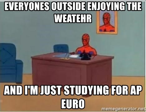 Spiderman Desk - Everyones outside enjoying the weatehr and i'm just studying for ap euro