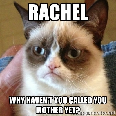 Grumpy Cat  - Rachel Why haven't you called you mother yet?