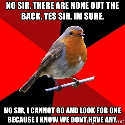 Retail Robin - NO SIR, THERE ARE NONE OUT THE BACK. YES SIR, IM SURE. NO SIR, I CANNOT GO AND LOOK FOR ONE BECAUSE I KNOW WE DONT HAVE ANY.