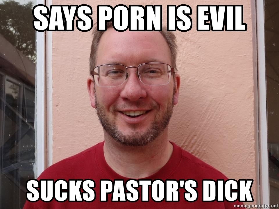 Asshole Christian missionary - says porn is evil sucks pastor's dick