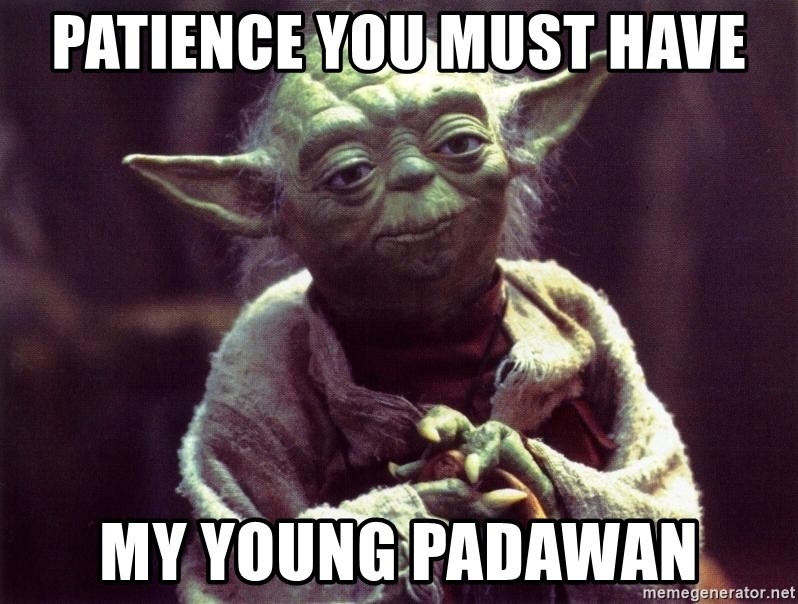 Yoda - patience you must have my young padawan