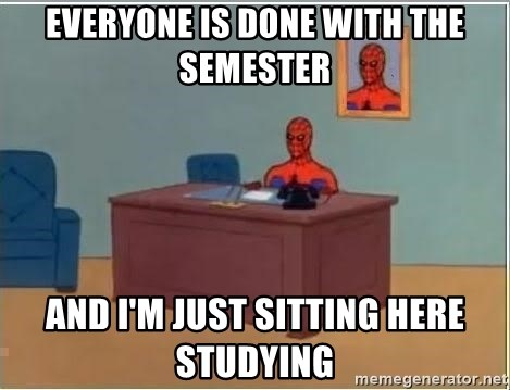 Spiderman Desk - Everyone is done with the semester and i'm just sitting here studying
