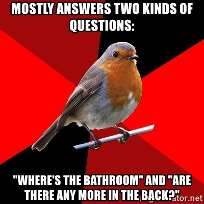 """Retail Robin - Mostly answers two kinds of questions: """"Where's the bathroom"""" and """"are there any more in the back?"""""""