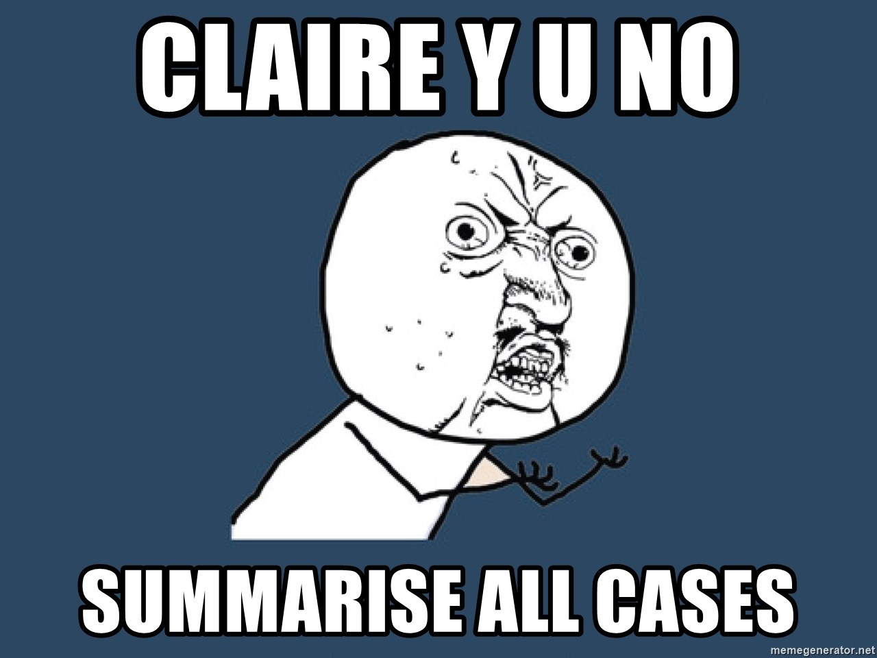Y U No - claire y u no summarise all cases