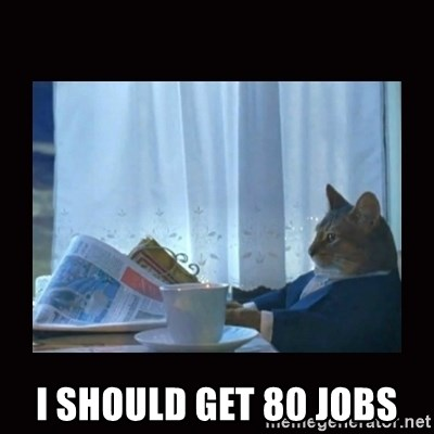 i should buy a boat cat -  I should get 80 jobs