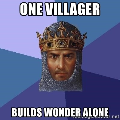 Age Of Empires - One villager Builds wonder alone