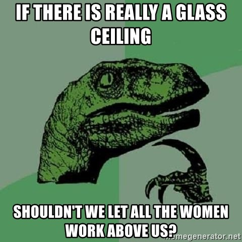 Philosoraptor - If there is really a glass ceiling shouldn't we let all the women work above us?