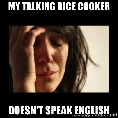 todays problem crying woman - My talking rice cooker doesn't speak english