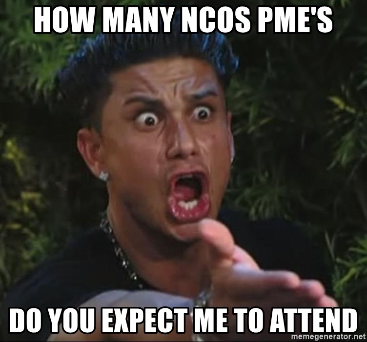 Pauly D - how many ncos pme's do you expect me to attend