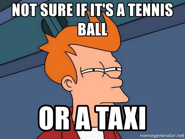 Futurama Fry - Not sure if it's a tennis ball or a taxi
