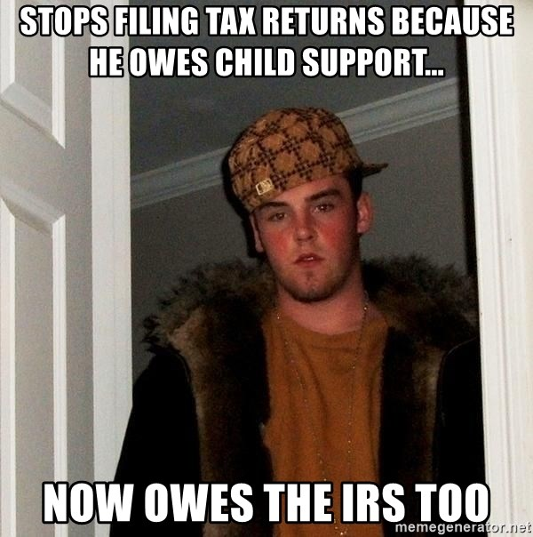 Scumbag Steve - Stops filing tax returns because he owes child support... now owes the irs too