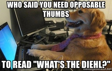 """I have no idea what I'm doing - Dog with Tie - who said you need opposable thumbs to read """"What's the Diehl?"""""""